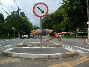 Pole dancing in the street