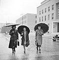 Studenten met paraplu's in de regen in de universiteitswijk Città Universitaria , Bestanddeelnr 191-1341.jpg
