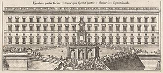Stockholm Palace - The northern row with the planned Lejonbacken before the fire in 1697. From the Suecia Antiqua et Hodierna.