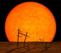 Artist's conception of the remains of artificial structures on the Earth after the Sun enters its red giant phase and swells to roughly 100 times its current size.