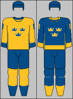 Sweden men's national ice hockey team - Image: Swedish national team jerseys 2016 (WCH)
