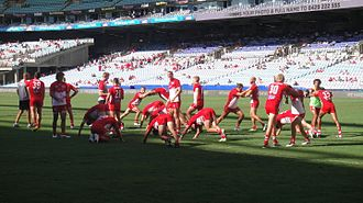 Sydney Swans - The Sydney Swans warm up before a match in 2013.