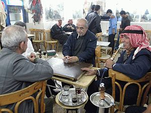 Playing cards in a coffeehouse, Damascus. Sour...