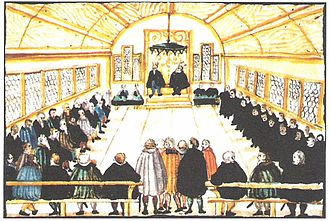 Anabaptism - Dissatisfaction with the outcome of a disputation in 1525 prompted Swiss Brethren to part ways with Huldrych Zwingli.