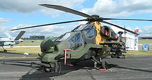 "TAI/AgustaWestland T129 ATAK - TAI T129 ""1001"" on display at the 2014 Farnborough Air Display"