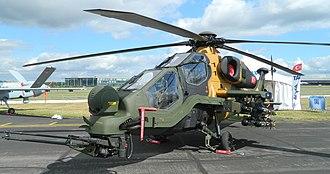 "TAI/AgustaWestland T129 ATAK - TAI T129 ""1001"" on display at the 2014 Farnborough Air Display"