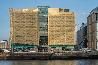 Ireland as a tax haven - Image: THE CENTRAL BANK OF IRELAND (NEW HEADQUARTER BUILDING ON NORTH WALL QUAY) ALONG BOTANIC AVENUE (JANUARY 2018) 135337 (39605114602)