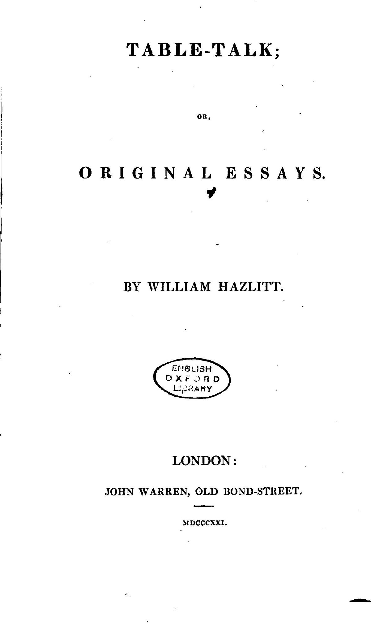 william hazlitt essays writing tabletalk hazlitt
