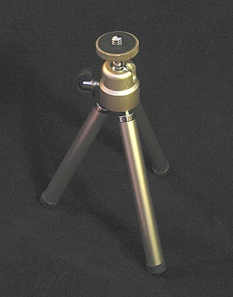 Tripod (photography) - A tabletop tripod with a ball head.
