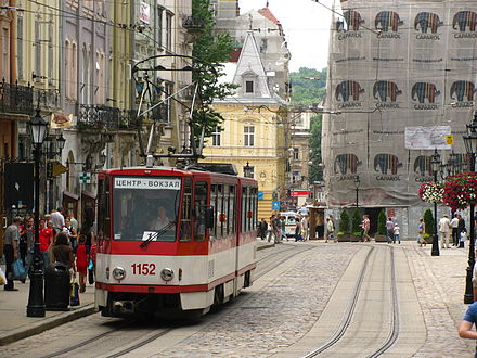 A Lviv tram in the Old Town Tatra KT-4D u L'vovi.jpg