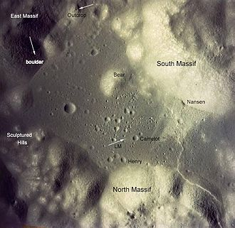 Taurus–Littrow - Labeled aerial photo of the Taurus–Littrow valley (north is at the bottom).