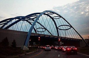 Taylor, Michigan - The blue arches of the Telegraph/94 bridge