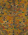 Textiles from Tibet, Tibetan art in the Metropolitan Museum of Art, Dragons on silk and gold chuba, 19th century art of Tibet, - MET 1982 211 (cropped).jpeg