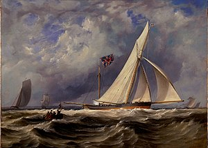 1851 America's Cup - Image: The 193 ton yacht Alarm in a light swell