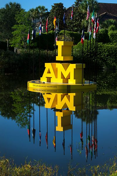 File:The 2016 Invictus Games slogan 'I AM' reflects in a pond at the Shades of Green Resort (26292600674).jpg