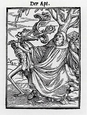 """Hans Lützelburger - The Abbot from the Dance of Death by Holbein. 6.5 x 4.8 cm. A so-called """"proof"""" impression, with a title rather than text."""