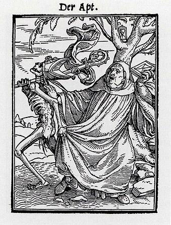 The Abbot, woodcut from the Dance of Death series, 1523-26, 6.5 x 4.8 cm inside frame The Abbot, from The Dance of Death, by Hans Holbein the Younger.jpg