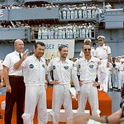The Apollo 7 crew is welcomed aboard the USS Essex
