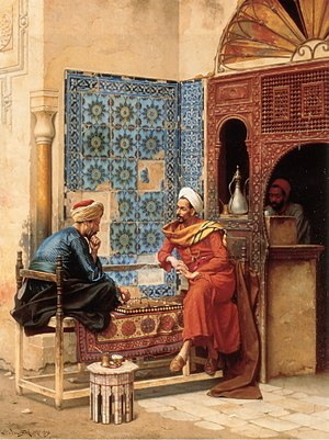 Al-Tha'alibi - Chess game between Tha'ālibī and Bakhazari, by Ludwig Deutsch (1855–1935)