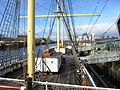The Deck of the Glenlee moored in the Clyde as part of the Glasgow Riverside Museum, looking back from the bow.JPG
