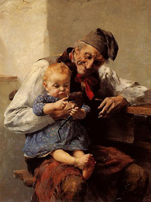 Grandparent -  The Favorite - Grandfather and Grandson, by Georgios Jakobides (1890)