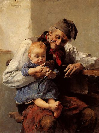 Grandparent - The Favorite – Grandfather and Grandson, by Georgios Jakobides (1890)