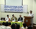 "The Minister of State for Commerce, Shri Jairam Ramesh giving the Thirteenth Lester Pearson Lecture on ""Managing Diversities - The Canadian and Indian Ways"" at Delhi University on April 23, 2007.jpg"