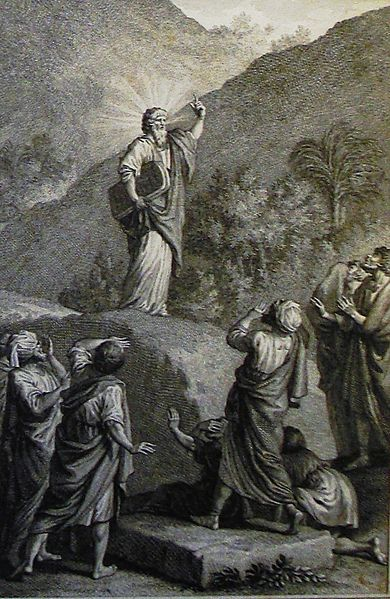 File:The Phillip Medhurst Picture Torah 429. Moses coming down Mount Sinai. Exodus cap 24 vv 29&32. Marillier.jpg
