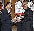 The President, Shri Pranab Mukherjee presenting the Padma Bhushan Award to Prof. P. Balaram, at an Investiture Ceremony-II, at Rashtrapati Bhavan, in New Delhi on April 26, 2014.jpg