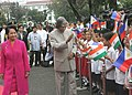 The President Dr. A.P.J. Abdul Kalam accompanied by his Philippine counterpart meeting the Philippines school students who welcomed the President during ceremonial arrival at the Malacanang Palace in Manila, Philippines.jpg