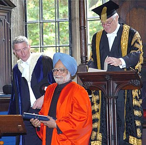 Dr. Manmohan Singh after receiving the Honorary Degree in Civil Law by the Oxford University