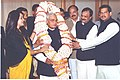 The Prime Minister Shri Atal Bihari Vajpayee is being garlanded by people on his 79th birthday in New Delhi on December 25, 2003.jpg