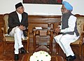 The Prime Minister of Nepal, Mr. Girija Prasad Koirala, calling on the Prime Minister, Dr. Manmohan Singh, on the eve of 14th SAARC Summit, in New Delhi on April 2, 2007.jpg