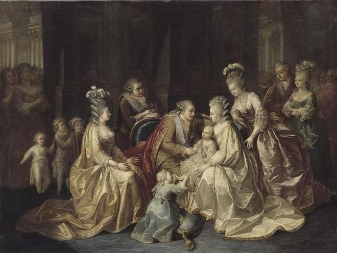 The Royal Family of France, 1781. From left to right: The Dukes of Berry and Angouleme with their sister Mademoiselle Sophie, the Countess and Count of Artois, the King and Queen holding the Dauphin with his older sister Madame Royale holding his train, Madame Elisabeth, the Count and Countess of Provence. The Royal Family of France in 1781 by an anonymous artist.jpg
