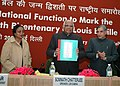 The Speaker, Lok Sabha, Shri Somnath Chatterjee releasing a book at a National function to mark the Birth Bicentenary of Louis Braille, in New Delhi on January 04, 2009.jpg