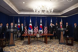 United States–Korea Free Trade Agreement - President Donald Trump and the President of South Korea Moon Jae-in deliver remarks after signing the United States-Korea Free Trade Agreement on September 24, 2018