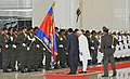 The Vice President, Shri Mohd. Hamid Ansari with the Prime Minister of Cambodia, Mr. Hun Sen at the ceremonial reception, at Peace Palace, in Phonm Penh, Cambodia on September 16, 2015.jpg