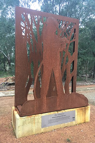 Shire of Mundaring - The Volunteer, art piece on the Railway Reserves Heritage Trail, Parkerville