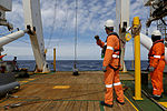 The back deck of the Fugro Discovery after successfully recovering the depressor of the Dragon Prince deep tow fish as Fugro Discovery completes the first stage of the search for the missing Malaysia Airlines.jpg
