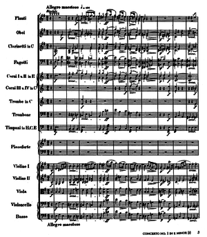 Piano Concerto No. 1 (Chopin) - The first page of the score, published by Breitkopf & Härtel, probably post-1850