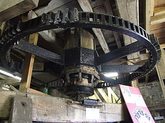 Beacon Mill, Rottingdean - The great spur wheel on the ground floor of the Rottingdean windmill. The millstones on the floor above are driven from here.