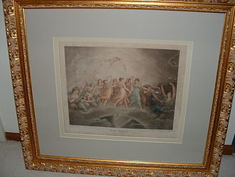 The Hours (engraving) - Coloured impression of the stipple engraving by Francesco Bartolozzi, mounted in an acid-free environment and placed behind conservation (or UV-protective) glass to prevent fauxing.