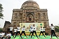 The participants in the mass performance of Common Yoga Protocol, on the occasion of the 4th International Day of Yoga -2018, at Lodhi Garden, in New Delhi on June 21, 2018.JPG