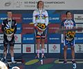The podium of the women's time trial at the 2013 UCI Road World Championships (2).JPG