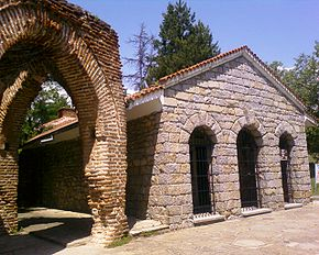 The thracian tomb in Kazanlak from outside.jpg