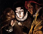 Theotokópoulos, Doménikos - Allegory with a Boy Lighting a Candle in the Company of an Ape and a Fool (Fábula) - c. 1600.jpg