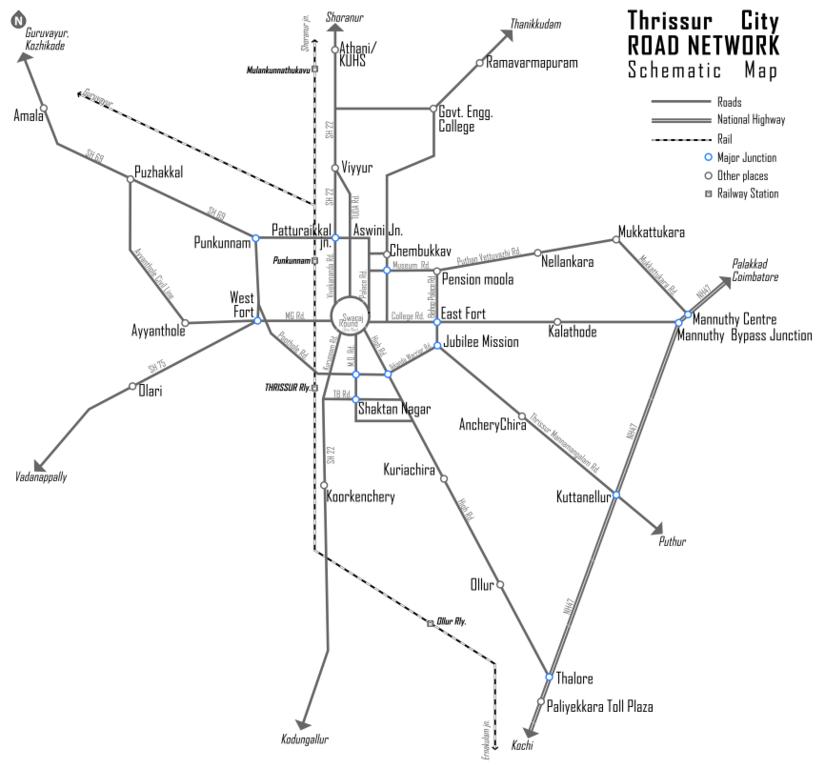Filethrissur City Road Map Schematic