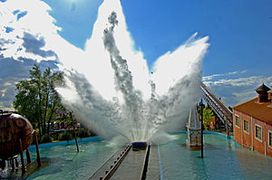 English: Tidal Wave with the splash at Thorpe Park