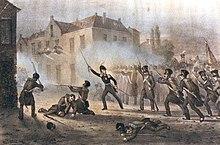 Pictură în ulei care îl înfățișează pe Prințul de Orange care, cu o sabie limpede, își conduce oamenii în luptă.