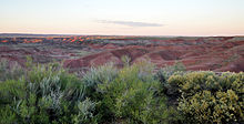 View from a highly vegetated overlook toward a relatively barren badlands of rounded buttes and small arroyos